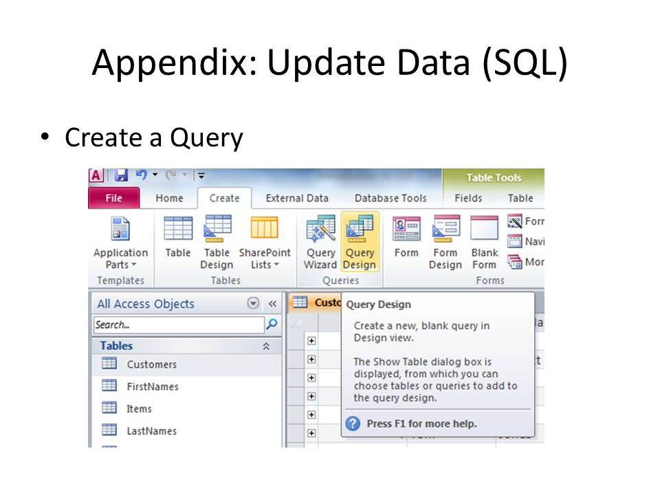 Appendix: Update Data (SQL) Create a Query