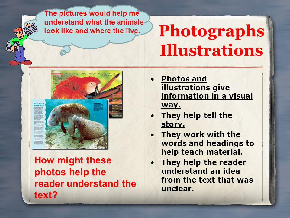 Photographs Illustrations Photos and illustrations give information in a visual way. They help tell the story. They work with the words and headings t