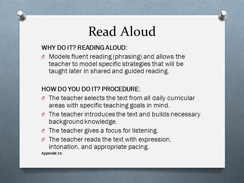 Read Aloud WHY DO IT.