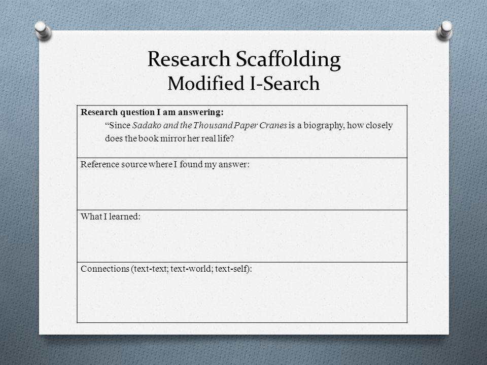 Research Scaffolding Modified I-Search Research question I am answering: Since Sadako and the Thousand Paper Cranes is a biography, how closely does the book mirror her real life.