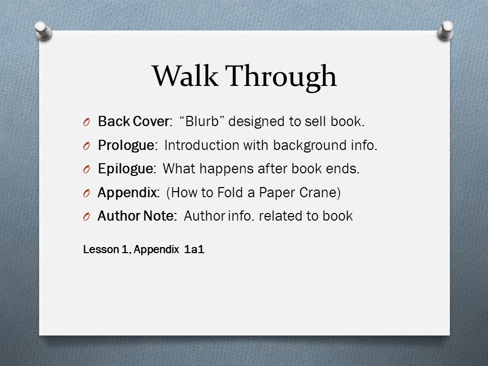 Walk Through O Back Cover: Blurb designed to sell book.