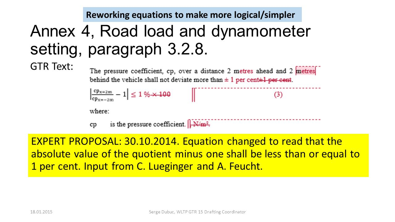 Annex 4, Road load and dynamometer setting, paragraph 3.2.8. EXPERT PROPOSAL: 30.10.2014. Equation changed to read that the absolute value of the quot