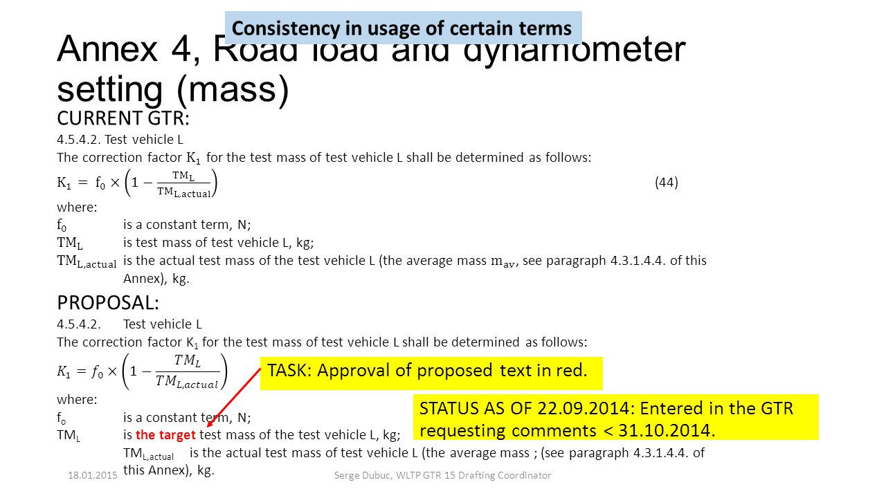 Annex 4, Road load and dynamometer setting (mass) TASK: Approval of proposed text in red. STATUS AS OF 22.09.2014: Entered in the GTR requesting comme