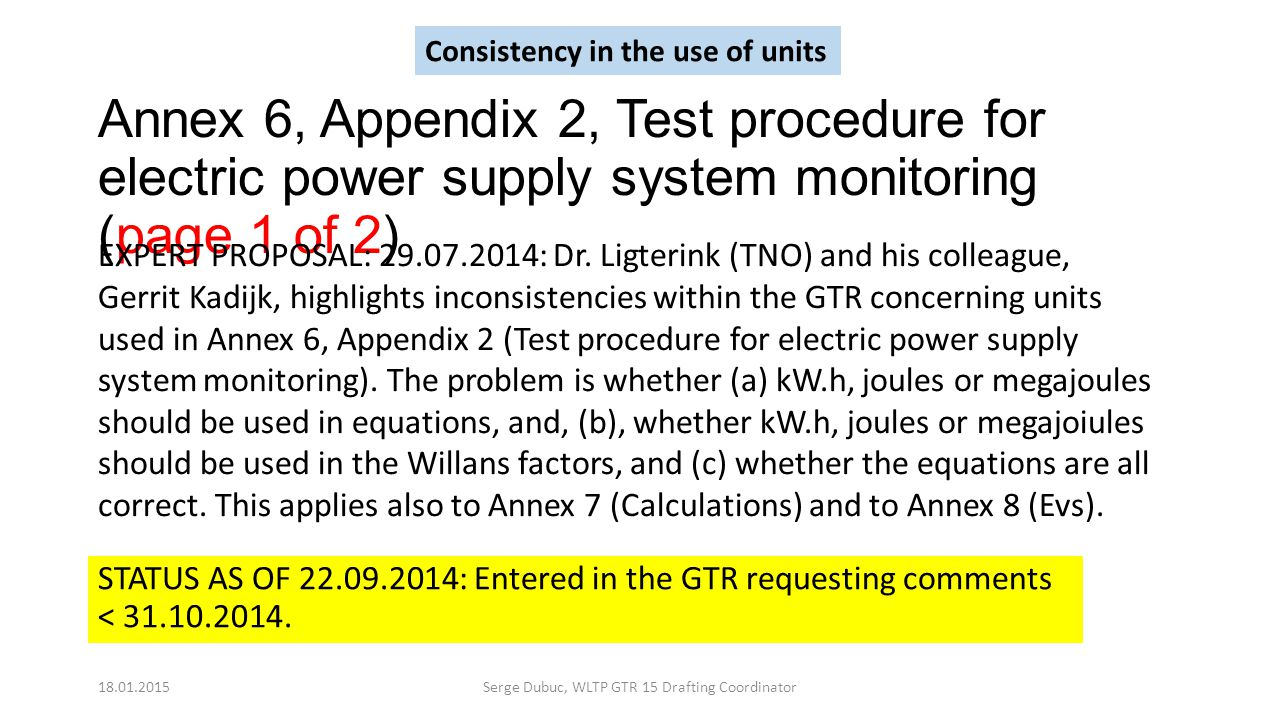 Annex 6, Appendix 2, Test procedure for electric power supply system monitoring (page 1 of 2) STATUS AS OF 22.09.2014: Entered in the GTR requesting c