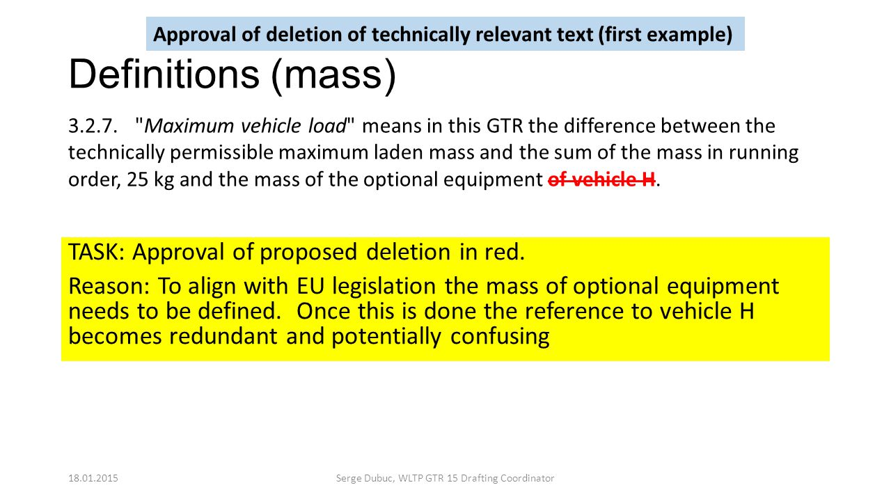 Definitions (mass) TASK: Approval of proposed deletion in red. Reason: To align with EU legislation the mass of optional equipment needs to be defined