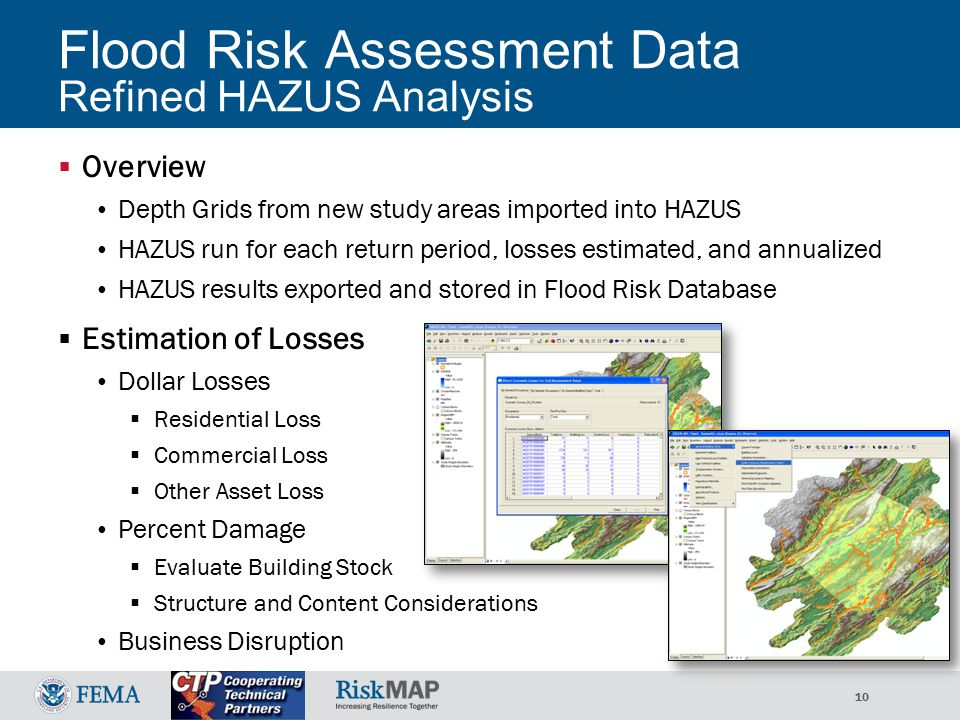 10 Flood Risk Assessment Data Refined HAZUS Analysis  Overview Depth Grids from new study areas imported into HAZUS HAZUS run for each return period, losses estimated, and annualized HAZUS results exported and stored in Flood Risk Database  Estimation of Losses Dollar Losses  Residential Loss  Commercial Loss  Other Asset Loss Percent Damage  Evaluate Building Stock  Structure and Content Considerations Business Disruption