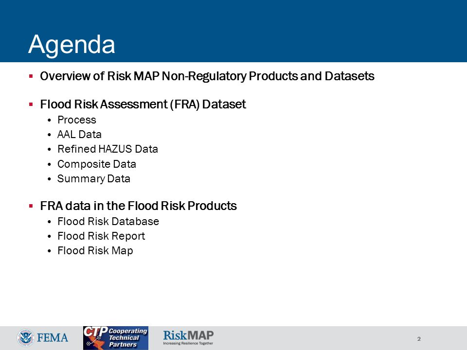 33 Flood Risk Report Overview  Background: Purpose, Methods Risk Reduction Practices  Project Results Changes Since Last FIRM Depth & Analysis Grids Flood Risk Assessment (enhanced analyses)  e.g.