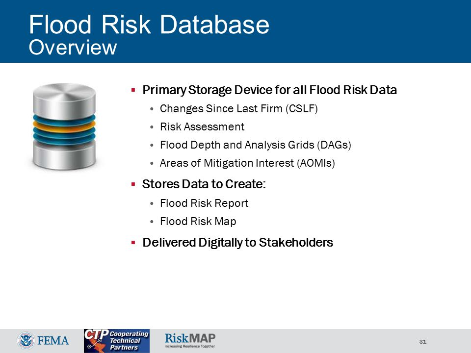 31 Flood Risk Database Overview  Primary Storage Device for all Flood Risk Data Changes Since Last Firm (CSLF) Risk Assessment Flood Depth and Analysis Grids (DAGs) Areas of Mitigation Interest (AOMIs)  Stores Data to Create: Flood Risk Report Flood Risk Map  Delivered Digitally to Stakeholders
