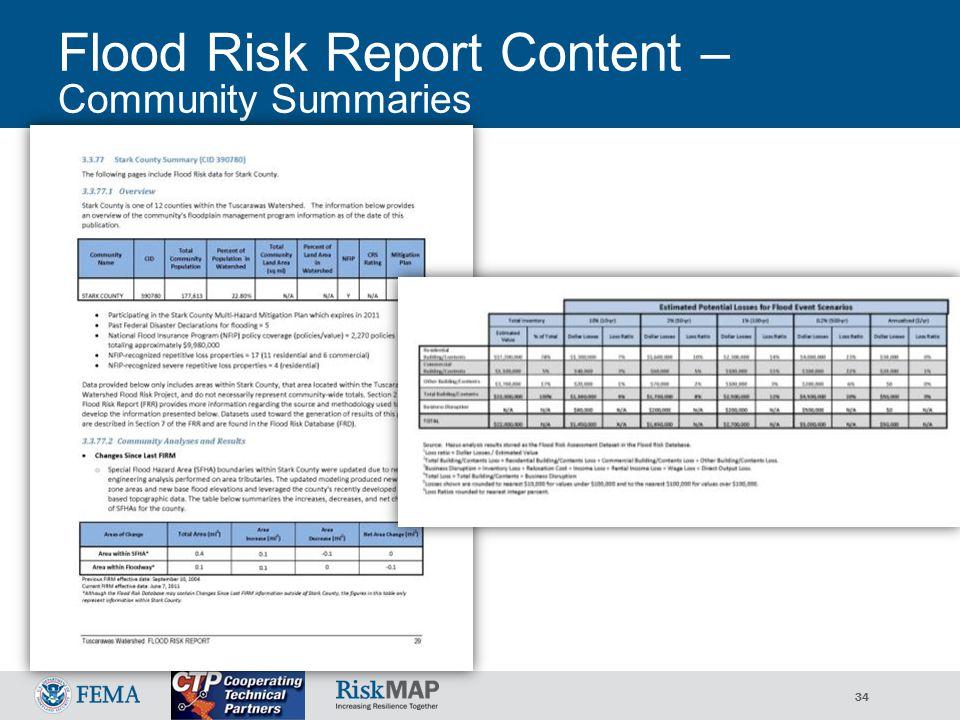 34 Flood Risk Report Content – Community Summaries