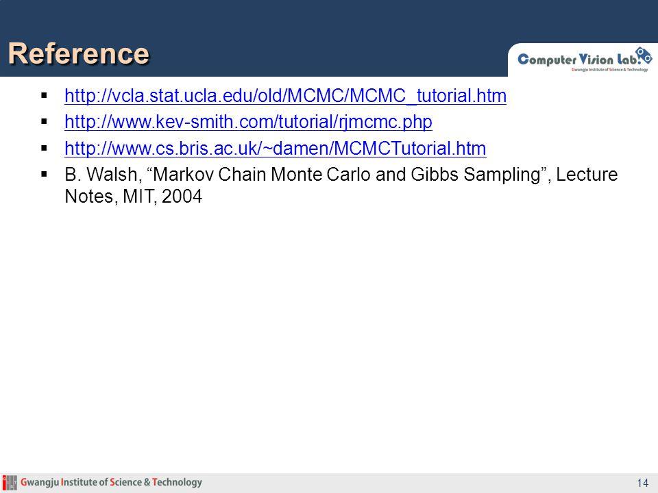 http://vcla.stat.ucla.edu/old/MCMC/MCMC_tutorial.htm http://vcla.stat.ucla.edu/old/MCMC/MCMC_tutorial.htm  http://www.kev-smith.com/tutorial/rjmcmc.php http://www.kev-smith.com/tutorial/rjmcmc.php  http://www.cs.bris.ac.uk/~damen/MCMCTutorial.htm http://www.cs.bris.ac.uk/~damen/MCMCTutorial.htm  B.