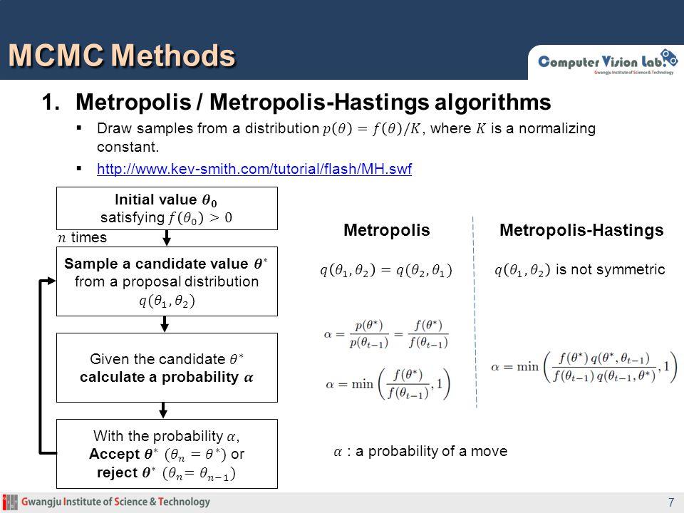 MCMC Methods 7 MetropolisMetropolis-Hastings