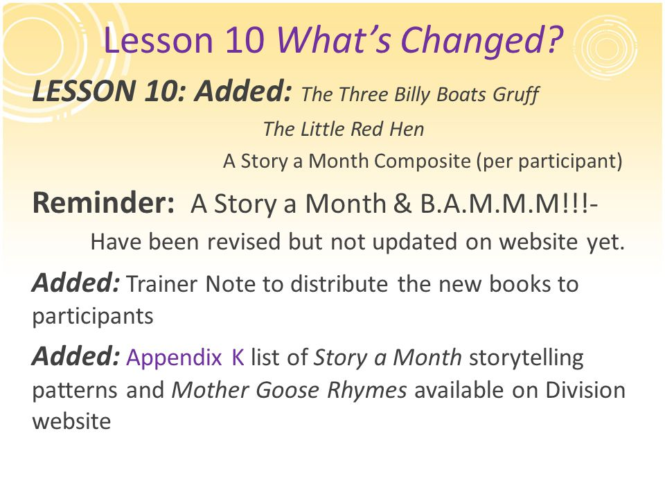 Lesson 10 What's Changed? LESSON 10: Added: The Three Billy Boats Gruff The Little Red Hen A Story a Month Composite (per participant) Reminder: A Sto