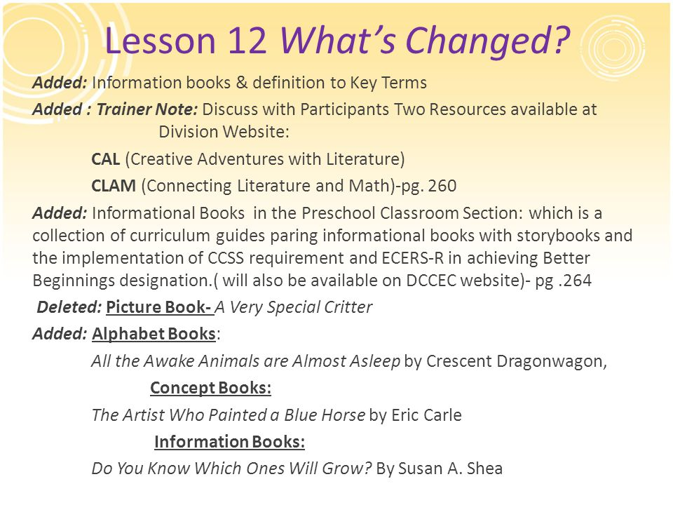 Lesson 12 What's Changed? Added: Information books & definition to Key Terms Added : Trainer Note: Discuss with Participants Two Resources available a