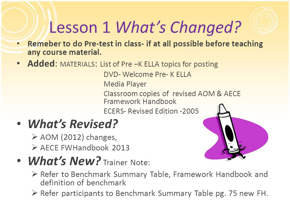 Lesson 1 What's Changed? Remeber to do Pre-test in class- if at all possible before teaching any course material. Added: MATERIALS : List of Pre –K EL