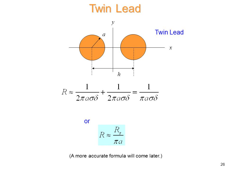 Twin Lead a x y h or 26 (A more accurate formula will come later.)