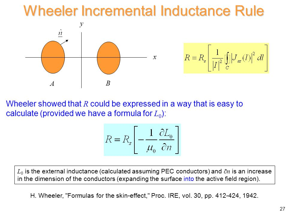 Wheeler Incremental Inductance Rule x y A B L 0 is the external inductance (calculated assuming PEC conductors) and  n is an increase in the dimension of the conductors (expanding the surface into the active field region).