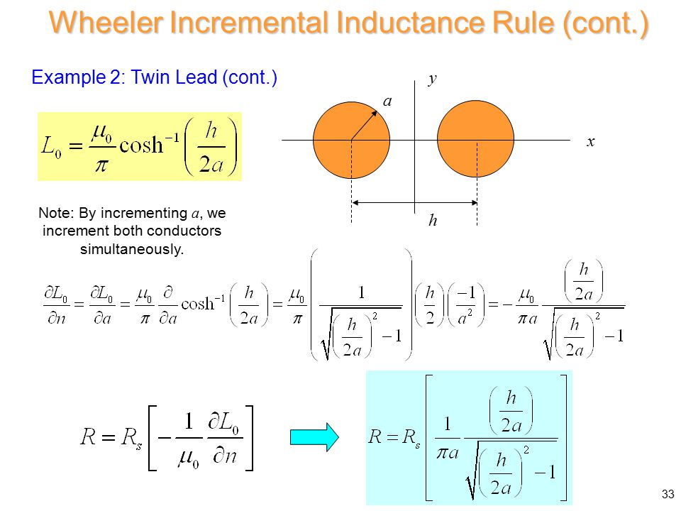 Example 2: Twin Lead (cont.) a xy h Wheeler Incremental Inductance Rule (cont.) Note: By incrementing a, we increment both conductors simultaneously.