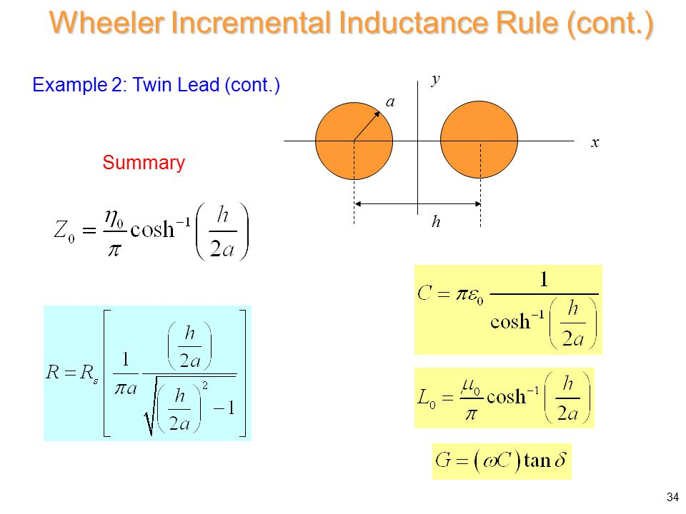 Example 2: Twin Lead (cont.) a xy h Wheeler Incremental Inductance Rule (cont.) 34 Summary