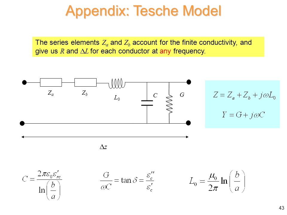 Appendix: Tesche Model C ZaZa ZbZb G zz L0L0 The series elements Z a and Z b account for the finite conductivity, and give us R and  L for each conductor at any frequency.