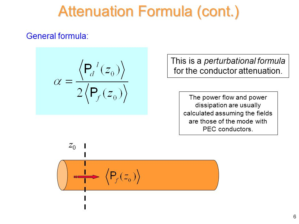 Assume Z 0 WG = real ( f > f c and no dielectric loss) Hence Attenuation in Waveguide (cont.) Vector identity: 37