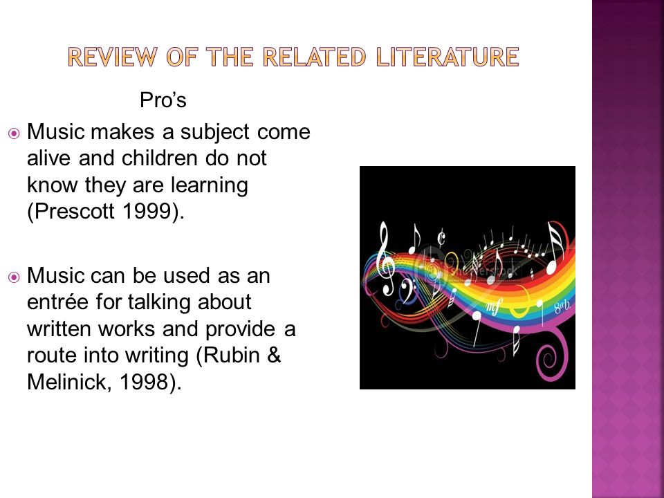 Pro's  Music makes a subject come alive and children do not know they are learning (Prescott 1999).