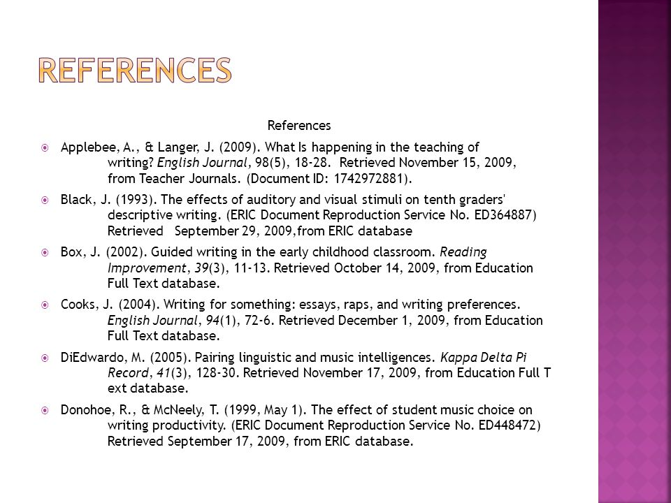 References  Applebee, A., & Langer, J. (2009). What Is happening in the teaching of writing.