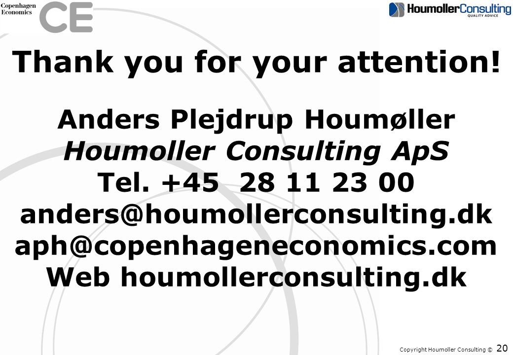 Copyright Houmoller Consulting © Thank you for your attention! 20 Anders Plejdrup Houmøller Houmoller Consulting ApS Tel. +45 28 11 23 00 anders@houmo