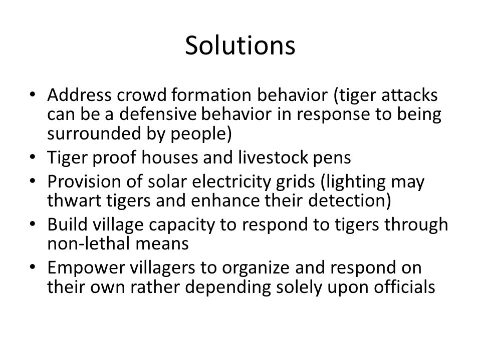 Solutions Address crowd formation behavior (tiger attacks can be a defensive behavior in response to being surrounded by people) Tiger proof houses and livestock pens Provision of solar electricity grids (lighting may thwart tigers and enhance their detection) Build village capacity to respond to tigers through non-lethal means Empower villagers to organize and respond on their own rather depending solely upon officials