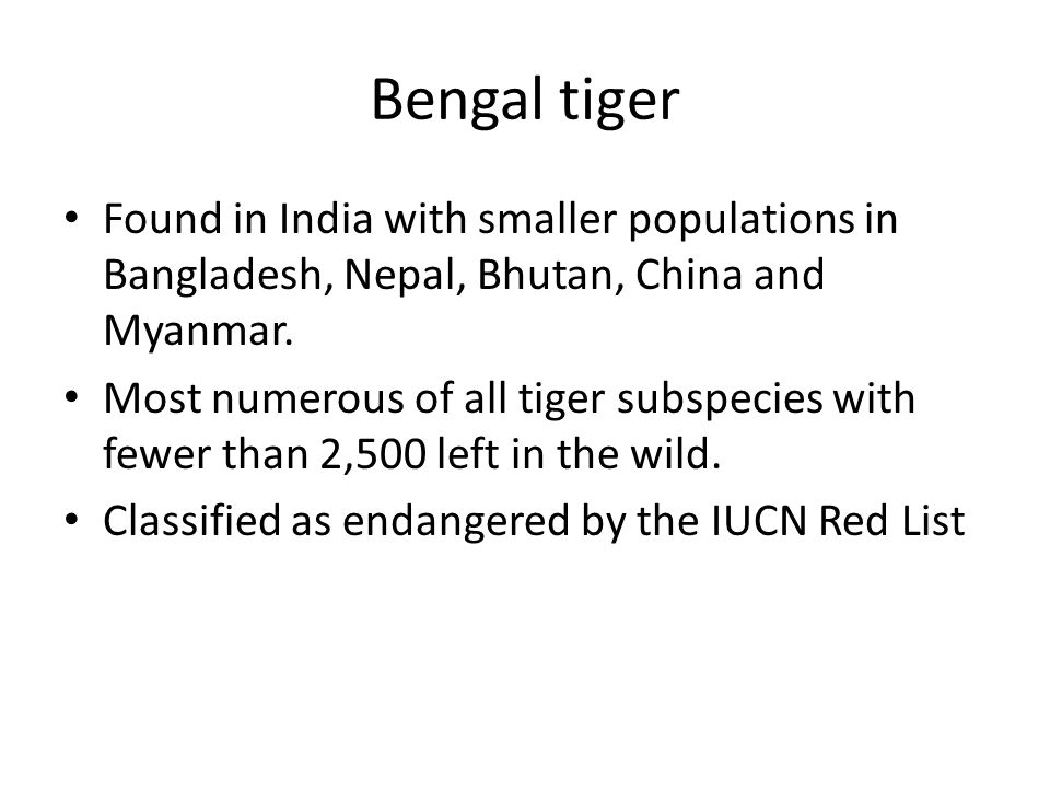 Bengal tiger Found in India with smaller populations in Bangladesh, Nepal, Bhutan, China and Myanmar.