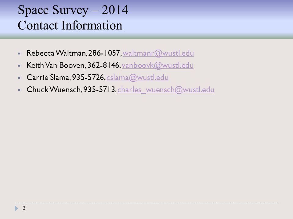 Space Survey – 2014 Contact Information 2  Rebecca Waltman, 286-1057, waltmanr@wustl.eduwaltmanr@wustl.edu  Keith Van Booven, 362-8146, vanboovk@wustl.eduvanboovk@wustl.edu  Carrie Slama, 935-5726, cslama@wustl.educslama@wustl.edu  Chuck Wuensch, 935-5713, charles_wuensch@wustl.educharles_wuensch@wustl.edu