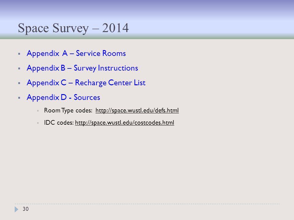 Space Survey – 2014 30  Appendix A – Service Rooms  Appendix B – Survey Instructions  Appendix C – Recharge Center List  Appendix D - Sources  Room Type codes: http://space.wustl.edu/defs.html  IDC codes: http://space.wustl.edu/costcodes.html