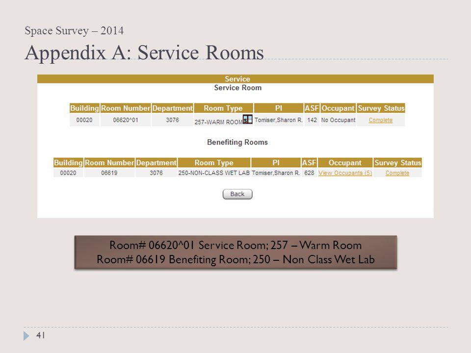 Room# 06620^01 Service Room; 257 – Warm Room Room# 06619 Benefiting Room; 250 – Non Class Wet Lab Room# 06620^01 Service Room; 257 – Warm Room Room# 06619 Benefiting Room; 250 – Non Class Wet Lab 41 Space Survey – 2014 Appendix A: Service Rooms