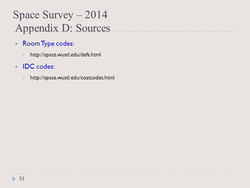 Space Survey – 2014 Appendix D: Sources 53  Room Type codes:  http://space.wustl.edu/defs.html  IDC codes:  http://space.wustl.edu/costcodes.html