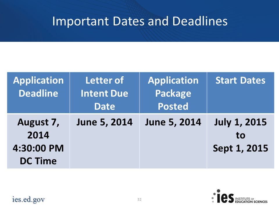 ies.ed.gov Application Deadline Letter of Intent Due Date Application Package Posted Start Dates August 7, 2014 4:30:00 PM DC Time June 5, 2014 July 1, 2015 to Sept 1, 2015 Important Dates and Deadlines 32