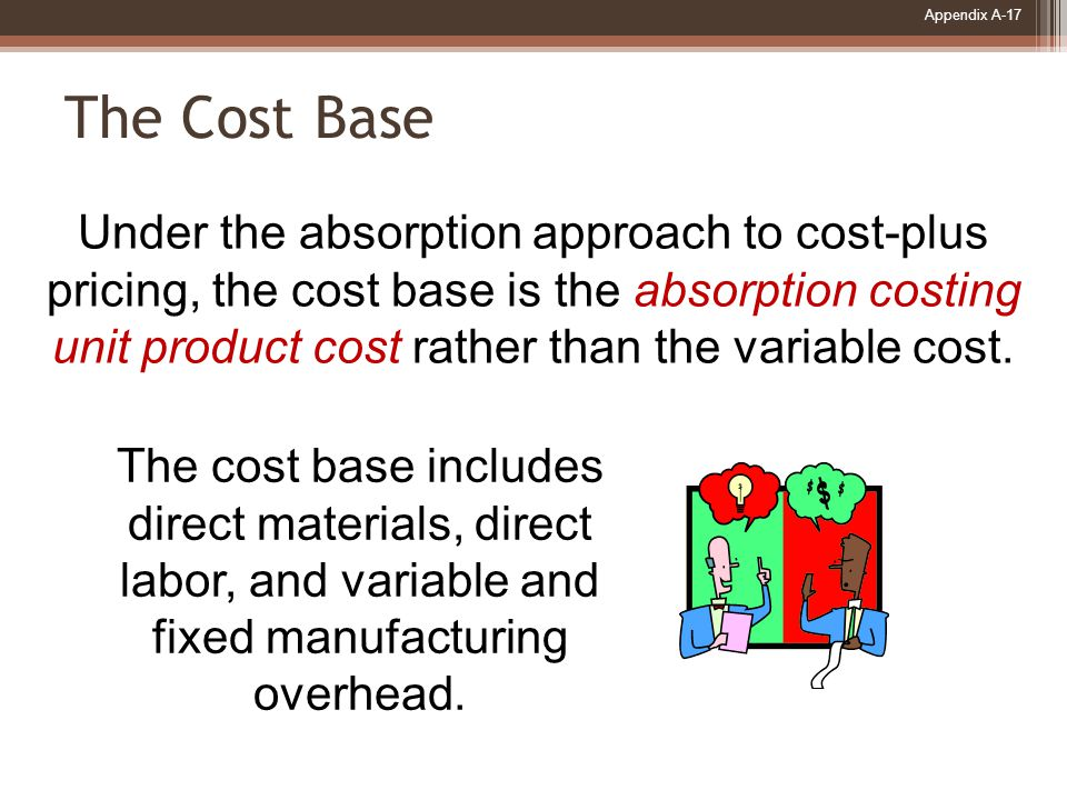 Appendix A-17 The Cost Base Under the absorption approach to cost-plus pricing, the cost base is the absorption costing unit product cost rather than the variable cost.
