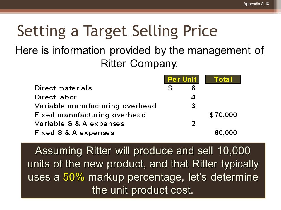 Appendix A-18 Setting a Target Selling Price Here is information provided by the management of Ritter Company.