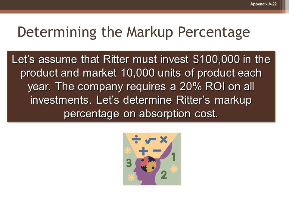Appendix A-22 Determining the Markup Percentage Let's assume that Ritter must invest $100,000 in the product and market 10,000 units of product each year.