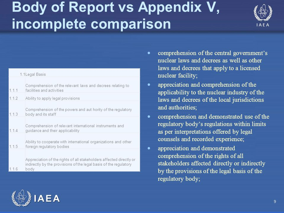 Body of Report vs Appendix V, incomplete comparison 9  comprehension of the central government's nuclear laws and decrees as well as other laws and decrees that apply to a licensed nuclear facility;  appreciation and comprehension of the applicability to the nuclear industry of the laws and decrees of the local jurisdictions and authorities;  comprehension and demonstrated use of the regulatory body's regulations within limits as per interpretations offered by legal counsels and recorded experience;  appreciation and demonstrated comprehension of the rights of all stakeholders affected directly or indirectly by the provisions of the legal basis of the regulatory body; 1.1Legal Basis 1.1.1 Comprehension of the relevant laws and decrees relating to facilities and activities 1.1.2Ability to apply legal provisions 1.1.3 Comprehension of the powers and aut hority of the regulatory body and its staff 1.1.4 Comprehension of relevant international instruments and guidance and their applicability 1.1.5 Ability to cooperate with international organizations and other foreign regulatory bodies 1.1.6 Appreciation of the rights of all stakeholders affected directly or indirectly by the provisions of the legal basis of the regulatory body