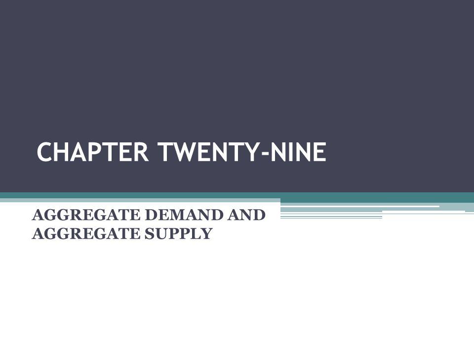 CHAPTER TWENTY-NINE AGGREGATE DEMAND AND AGGREGATE SUPPLY