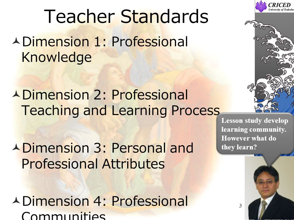 Teacher Standards Dimension 1: Professional Knowledge Dimension 2: Professional Teaching and Learning Process Dimension 3: Personal and Professional A
