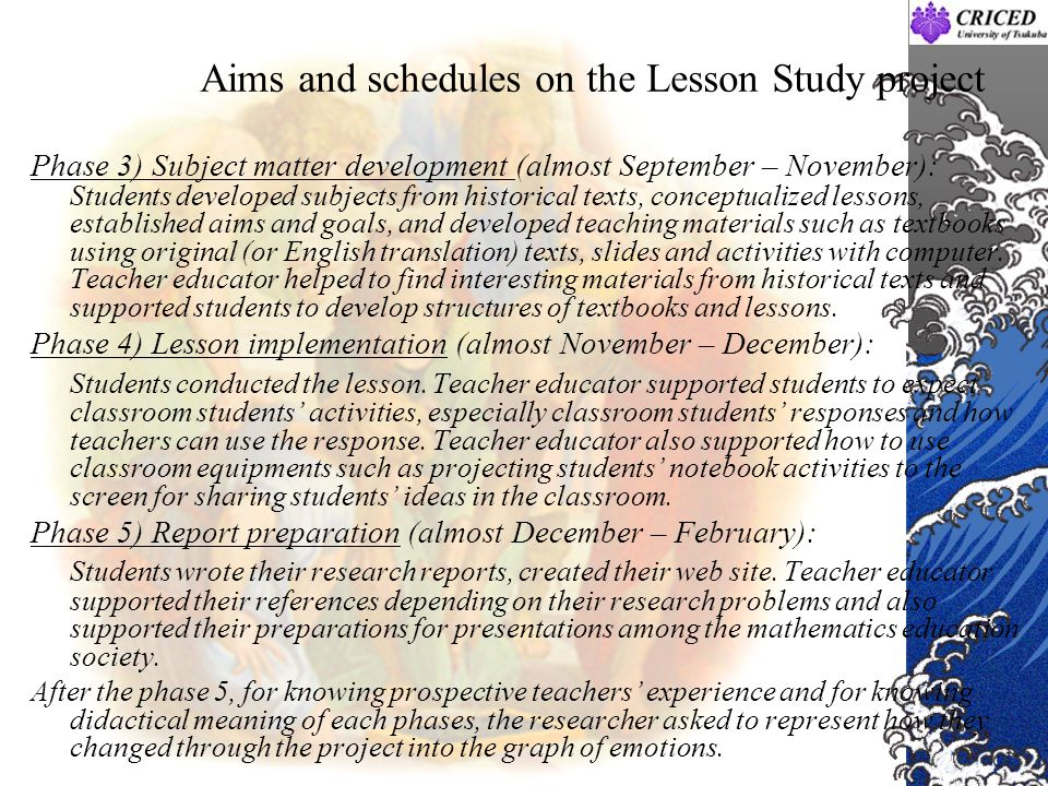 Aims and schedules on the Lesson Study project Phase 3) Subject matter development (almost September – November): Students developed subjects from his