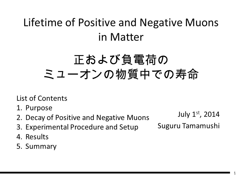 正および負電荷の ミューオンの物質中での寿命 July 1 st, 2014 Suguru Tamamushi List of Contents 1.Purpose 2.Decay of Positive and Negative Muons 3.Experimental Procedure and Setup 4.Results 5.Summary Lifetime of Positive and Negative Muons in Matter 1
