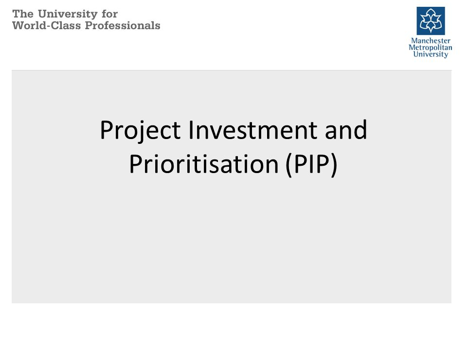 Project Investment and Prioritisation (PIP)