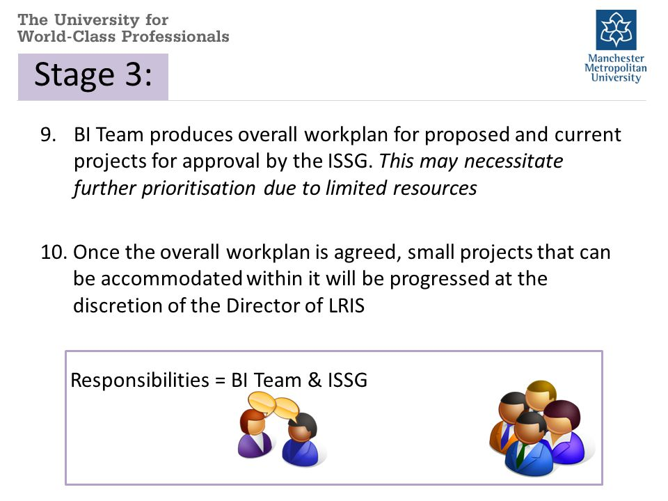 9.BI Team produces overall workplan for proposed and current projects for approval by the ISSG. This may necessitate further prioritisation due to lim
