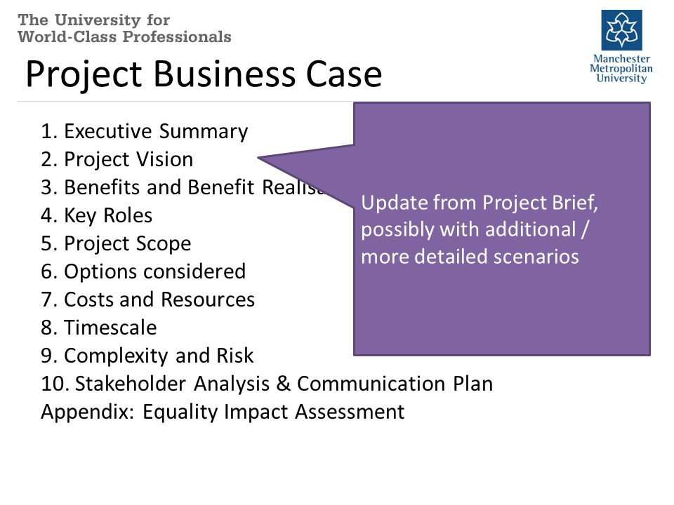 Project Business Case 1.Executive Summary 2. Project Vision 3.