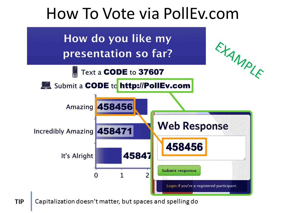 How To Vote via PollEv.com/username Capitalization doesn't matter, but spaces and spelling do TIP EXAMPLE
