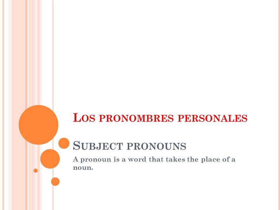 L OS PRONOMBRES PERSONALES S UBJECT PRONOUNS A pronoun is a word that takes the place of a noun.