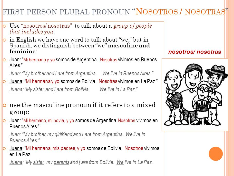 """FIRST PERSON PLURAL PRONOUN """"N OSOTROS / NOSOTRAS """" Use """"nosotros/ nosotras"""" to talk about a group of people that includes you. in English we have one"""