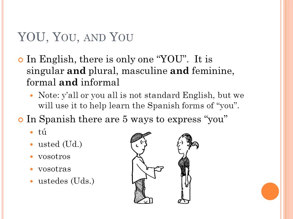 """YOU, Y OU, AND Y OU In English, there is only one """"YOU"""". It is singular and plural, masculine and feminine, formal and informal Note: y'all or you all"""