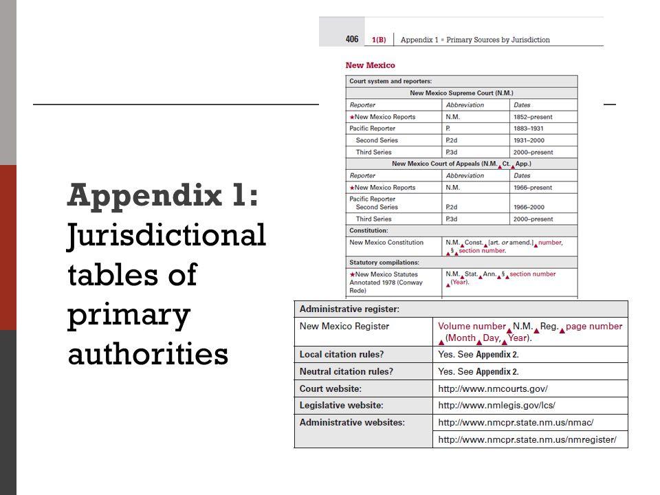 Appendix 1: Jurisdictional tables of primary authorities
